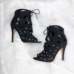Also Suede Caged Heels in Black
